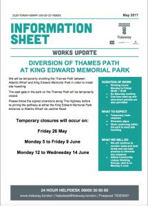 Changes to Thames Path in Shadwell Park