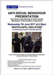 Anti social behaviour presentation from the Police in Whitechapel