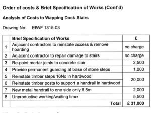 Wapping Dock Stairs costs. jpg